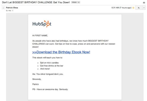 Birthday Email Patrick