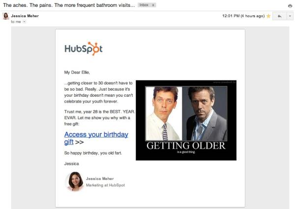 Birthday Email Jess